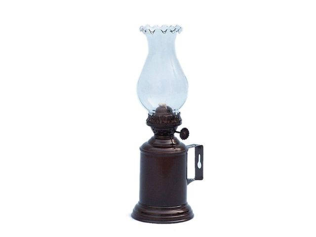 Antique Copper Tavern Oil Lamp 10