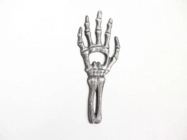 Rustic Silver Cast Iron Skeleton Hand Bottle Opener 7