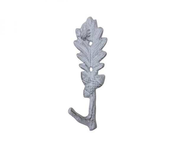 Whitewashed Cast Iron Oak Tree Leaf with Acorns Decorative Metal Tree Branch Hook 6.5