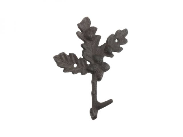 Cast Iron Oak Tree Leaves with Acorns Decorative Metal Tree Branch Hooks 6.5