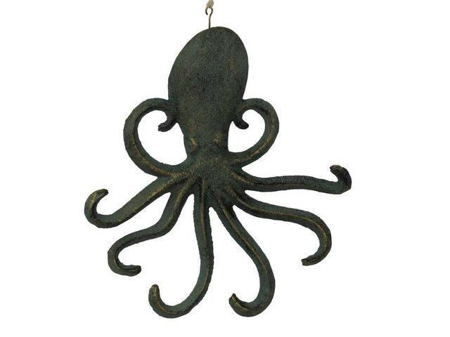 Antique Seaworn Bronze Cast Iron Wall Mounted Octopus Hooks 7