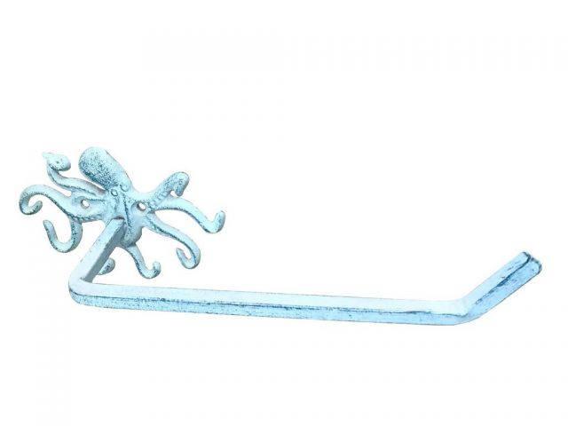 Dark Blue Whitewashed Cast Iron Octopus Toilet Paper Holder 11