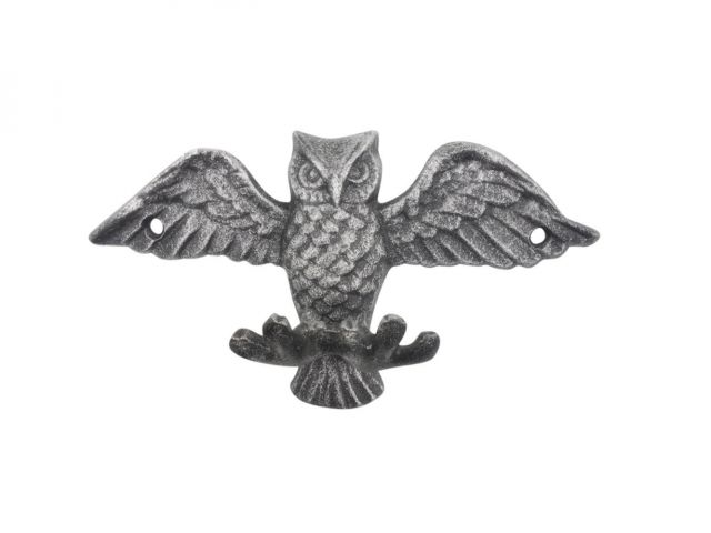Rustic Silver Cast Iron Flying Owl Decorative Metal Talons Wall Hooks 6