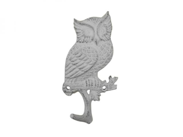 Whitewashed Cast Iron Owl Sitting on a Tree Branch Decorative Metal Wall Hook 6.5