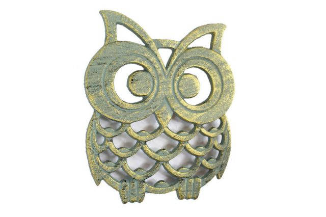 Antique Seaworn Bronze Cast Iron Owl Trivet 8
