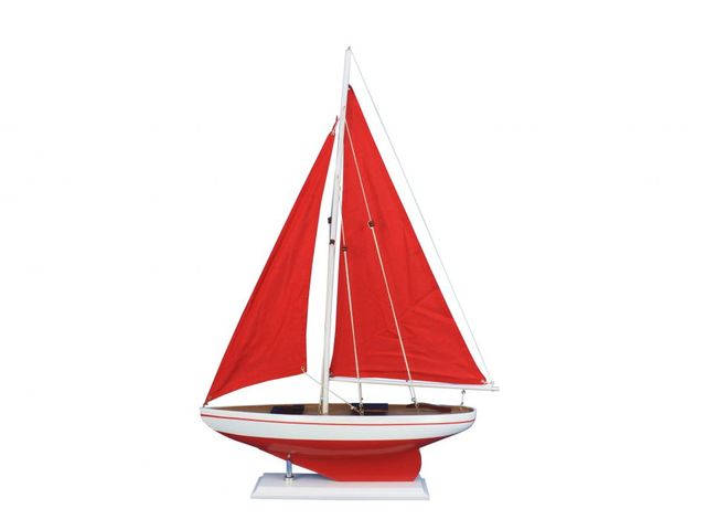 Wooden Red Pacific Sailer with Red Sails Model Sailboat Decoration 25