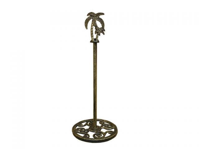 Rustic Gold Cast Iron Palm Tree Extra Toilet Paper Stand 17