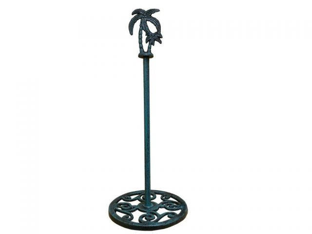 Seaworn Blue Cast Iron Palm Tree Extra Toilet Paper Stand 17