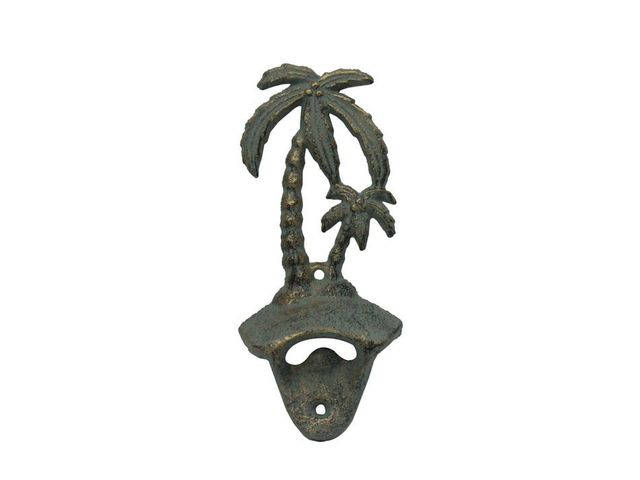 Antique Seaworn Bronze Cast Iron Wall Mounted Palmtree Bottle Opener 6
