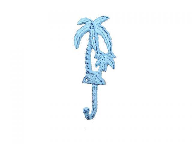 Rustic Dark Blue Whitewashed Cast Iron Palm Tree Hook 7