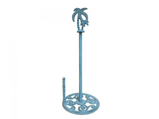 Rustic Dark Blue Whitewashed Cast Iron Palm Tree Paper Towel Holder 17