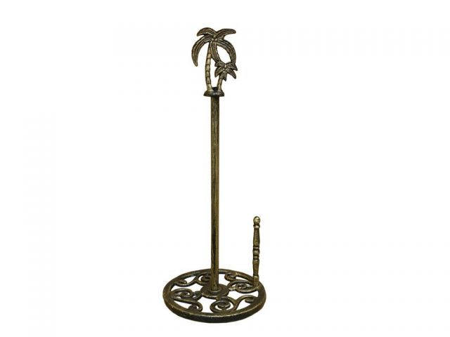 Rustic Gold Cast Iron Palm Tree Paper Towel Holder 17