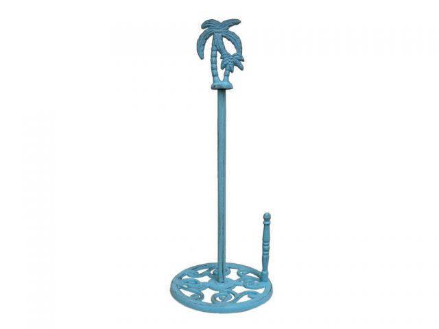 Rustic Light Blue Cast Iron Palm Tree Paper Towel Holder 17