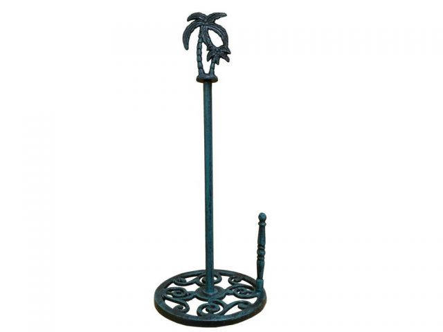Seaworn Blue Cast Iron Palm Tree Paper Towel Holder 17