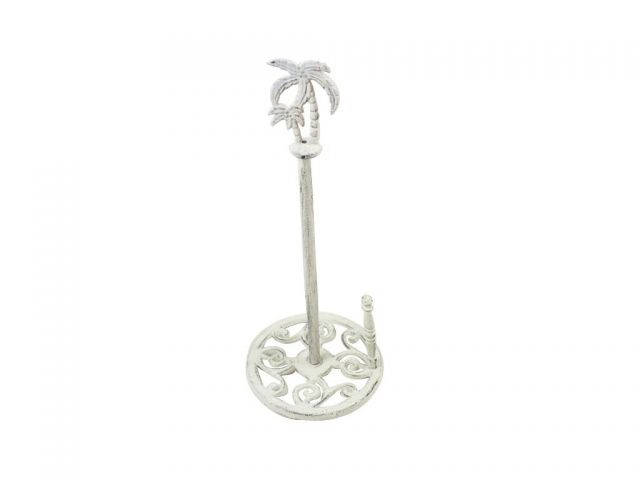 Whitewashed Cast Iron Palm Tree Paper Towel Holder 17