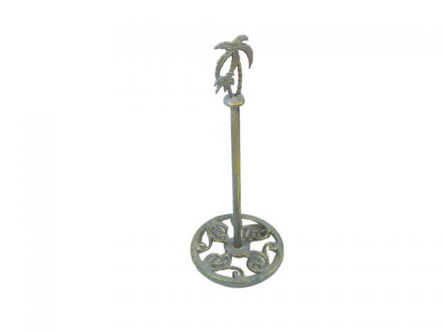 Antique Seaworn Bronze Cast Iron Palm Tree Extra Toilet Paper Stand 17