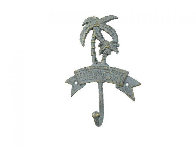 Antique Seaworn Bronze Cast Iron Palm Tree Beach Hook 8