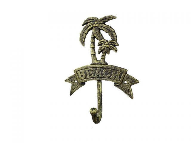Rustic Gold Cast Iron Palm Tree Beach Hook 8