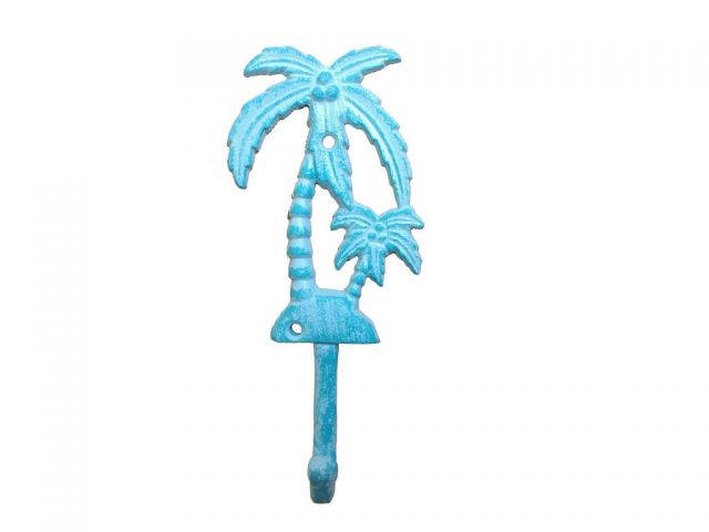 Rustic Light Blue Whitewashed Cast Iron Palm Tree Hook 7
