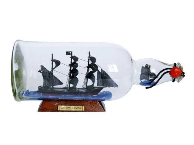 Blackbeards Queen Annes Revenge Model Ship in a Glass Bottle 11