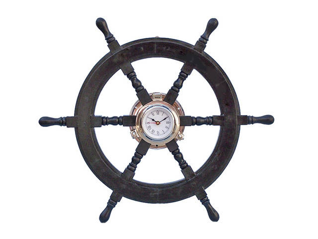 Deluxe Class Wood and Chrome Pirate Ship Wheel Clock 24