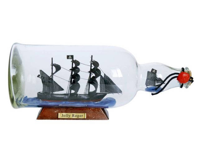 Captain Hookandapos;s Jolly Roger from Peter Pan Model Ship in a Glass Bottle 11