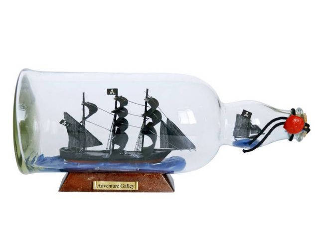 Captain Kiddandapos;s Adventure Galley Model Ship in a Glass Bottle 11
