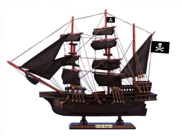 Wooden Captain Hooks Jolly Roger from Peter Pan Black Sails Pirate Ship Model 15