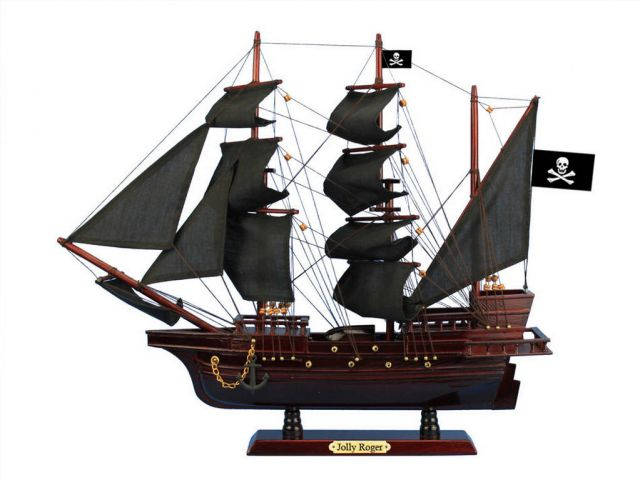 Wooden Captain Hooks Jolly Roger from Peter Pan Black Sails Pirate Ship Model 20