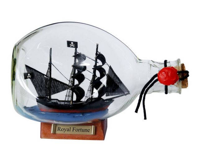 Black Barts Royal Fortune Pirate Ship in a Bottle 7