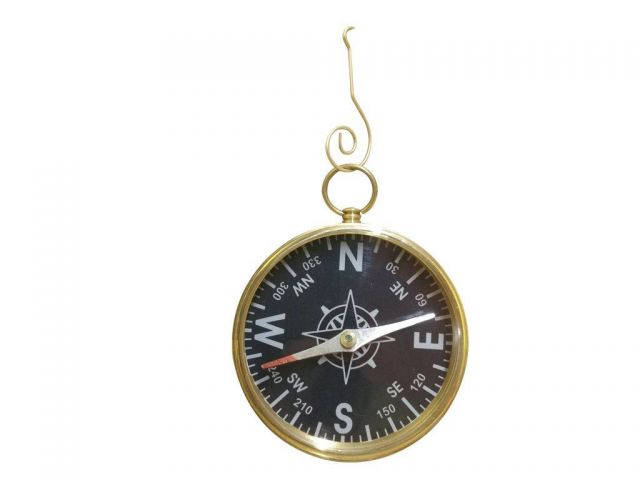 Solid Brass Admirals Black Faced Compass Christmas Ornament 6