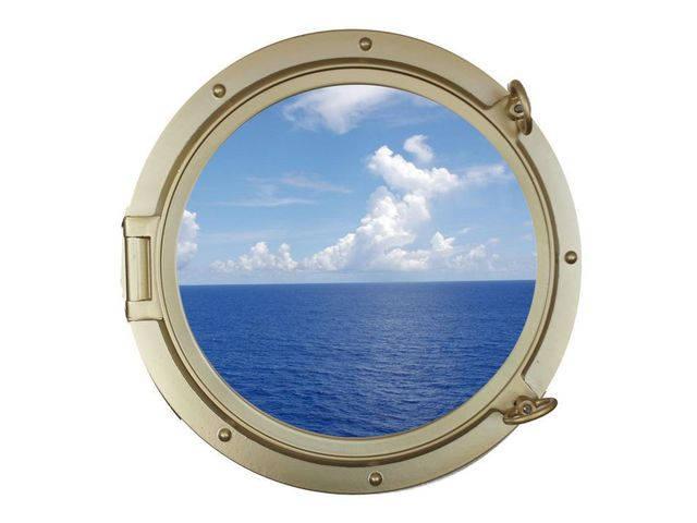 Gold Finish Decorative Ship Porthole Window 24