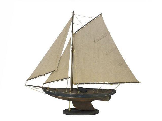 Wooden Rustic Newport Sloop Model Sailboat Decoration 30