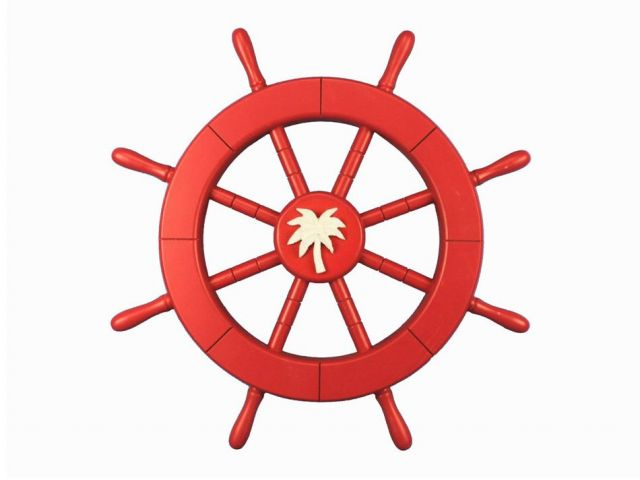 Red Ship Decorative Wheel with Palm Tree 18