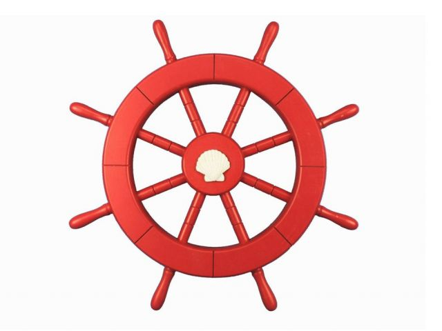 Red Ship Decorative Wheel with Seashell 18