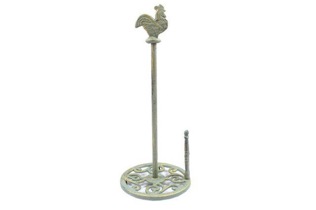 Antique Seaworn Bronze Cast Iron Rooster Paper Towel Holder 15