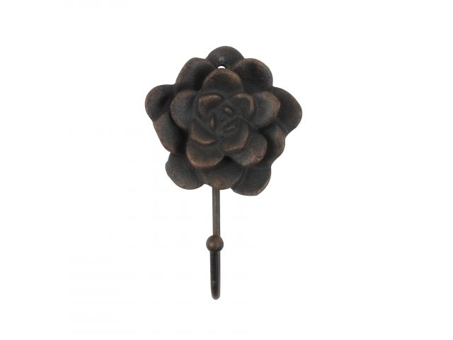 Rustic Copper Cast Iron Decorative Rose Hook 7