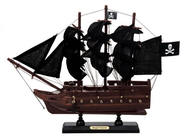 Wooden Black Barts Royal Fortune Black Sails Model Pirate Ship 12