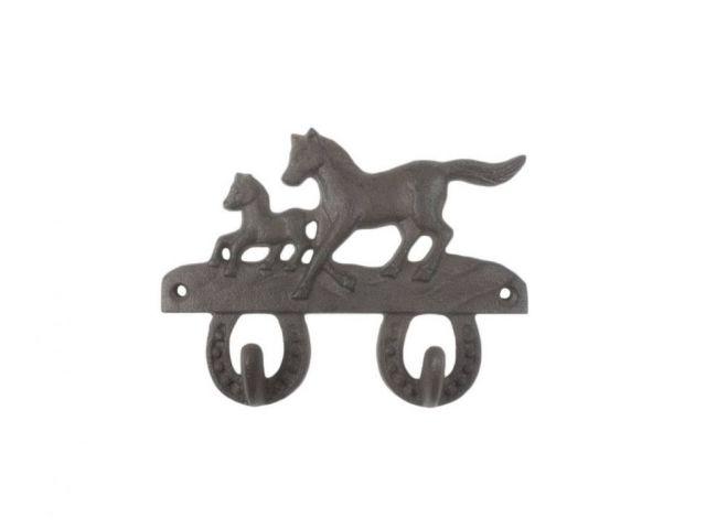 Cast Iron Running Horses with Decorative Metal Horseshoe Wall Hooks 5.5