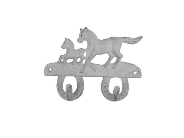 Whitewashed Cast Iron Running Horses with Decorative Metal Horseshoe Wall Hooks 5.5