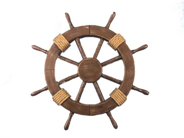 Rustic Wood Finish Decorative Ship Wheel 18