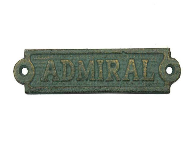 Antique Seaworn Bronze Cast Iron Admiral Sign 6