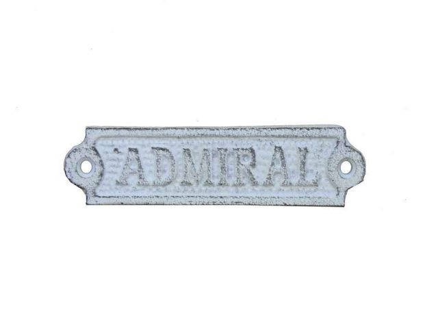 Whitewashed Cast Iron Admiral Sign 6
