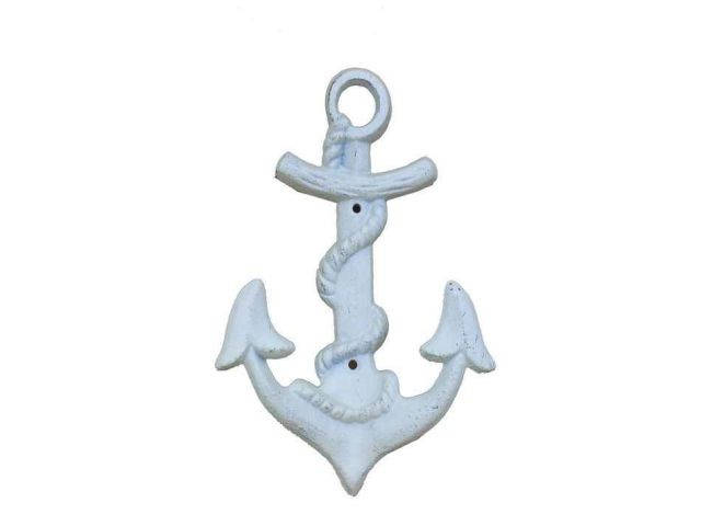 Whitewashed Cast Iron Anchor Hook 8