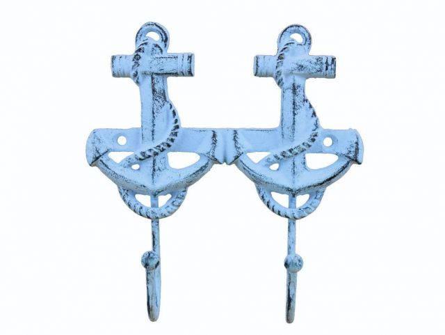 Rustic Dark Blue Whitewashed Cast Iron Decorative Anchor Hooks 7