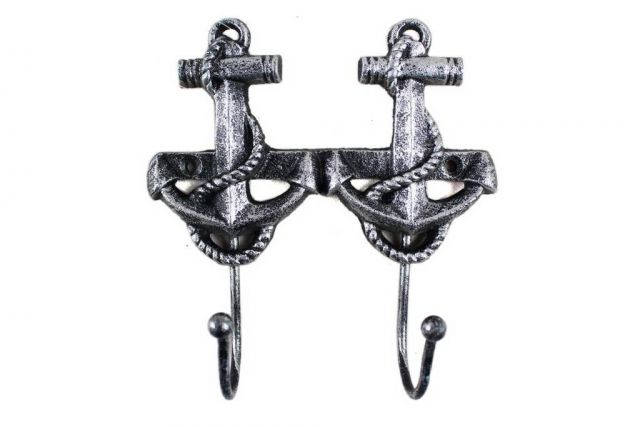 Antique Silver Cast Iron Decorative Anchor Hooks 7
