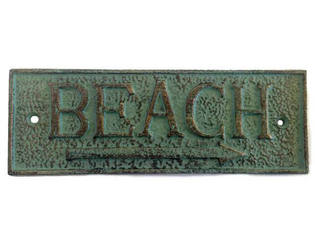 Antique Seaworn Bronze Cast Iron Beach Sign 9