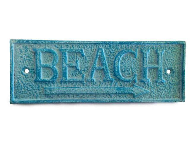 Light Blue Whitewashed Cast Iron Beach Sign 9