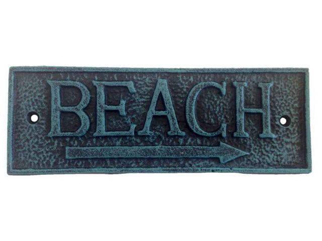 Seaworn Blue Cast Iron Beach Sign 9