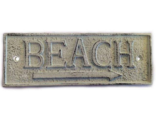 Whitewashed Cast Iron Beach Sign 9